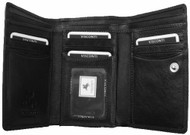 Visconti Heritage -32 Soft Leather Womens Trifold Wallet / Purse (Black)
