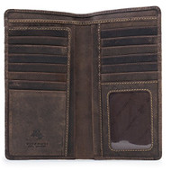 Visconti 724 Hunter Distressed Brown Leather Tall Bi-fold Wallet for Home, Bu...
