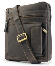 Visconti 16116 Distressed Messenger Shoulder Bag Handbag in Oiled Leather (Br...