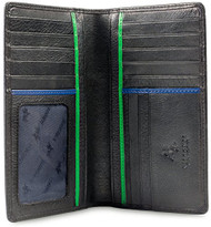 """Visconti Jaws BD12 Black Leather Tall Checkbook Wallet 4"""" x 6.5"""""""