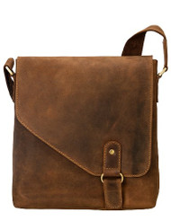 Visconti 16071 Oiled Distressed Leather Messenger Shoulder Bag Hunter
