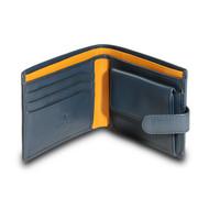Visconti Parma PM-100 Mens Classic Bi-fold Coin Pouch Wallet (Blue/Mustard)