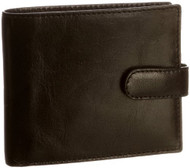 Visconti 451 Milano Mens ID Card Holder Leather Shiny Wallet (Black) [Apparel]