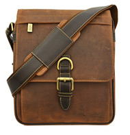 Visconti 16011 Distressed Leather Messenger Crossbody Bag with Front Buckle (...