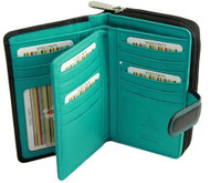 Visconti Cd 22 Ladies Large Black and Red or Black and Aqua Soft Leather Wall...
