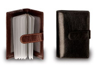Visconti 484 Milano Mens ID Card Holder Leather Shiny Wallet in Black Gift Bo...