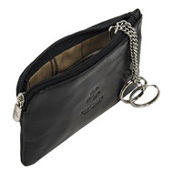Visconti Monza 19 Leather Key Ring Zippered Coin Pouch Purse (Black)