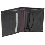 Visconti AP61 Brig Genuine Leather Mens Bi-fold Wallet (Black/Burgundy)