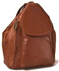 Visconti 18357 Medium Ladies Triangular Leather Backpack Rucksack Handbag (Brown)