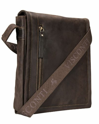 dc8bd8d7f4 Visconti 16081 Distressed Oiled Genuine Leather Bag Messenger Cross ...