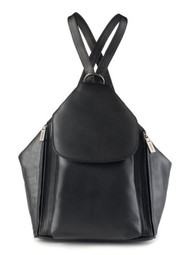 Visconti 18357 Medium Ladies Triangular Leather Backpack Rucksack Handbag (Bl...