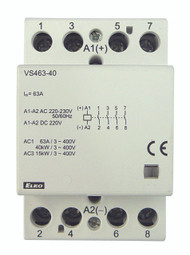 CONTACTOR, 4 POLE, 63A-AC1 230V AC/DC 3 MODULE WIDE, DIN MOUNTING