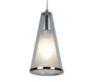 Stylish 240V pendant featuring adjustable 2.5 mtr suspension, chrome metal-ware and trim with clear outer glass shade and frost inner glass.