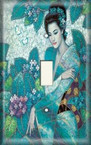 Blue Oriental Woman - Light Switch Plate Cover