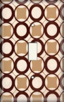 More Brown Retro Circles - Light Switch Plate Cover