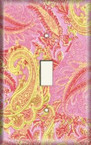 Pink/Yellow Paisley - Light Switch Plate Cover