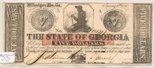 1862 $5 The State of Georgia, Milledegeville