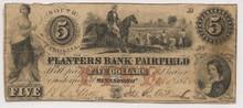 1855 $5 Winnsboro, SC Planters Bank of Fairfield  Fine