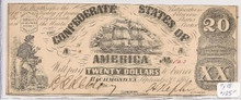 1861 $20 Confederate Currency Richmond Type 18