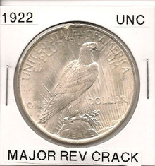 1922 Peace Dollar Major Reverse Crack UNC
