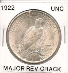1922 Peace Dollar Major Reverse Crack UNC