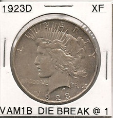 1923D Peace Dollar VAM 1B Die Break 1 XF