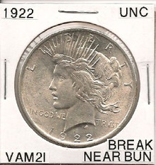 1922 Peace Dollar VAM 2I Break Near Bun UNC
