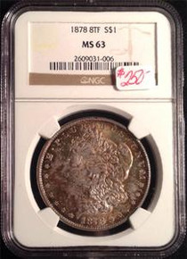 1878 8 TAIL FEATHERS MORGAN DOLLAR NGC CERTIFIED MS 63