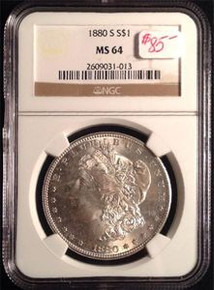 1880-S MORGAN DOLLAR NGC CERTIFIED MS 64 VERY NICE DETAIL 331088894357