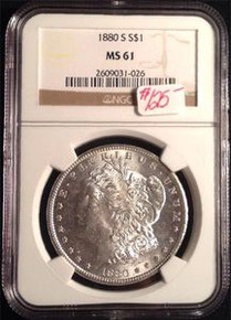 1880-S MORGAN DOLLAR NGC CERTIFIED MS 61 VERY NICE TONING ON BACK!