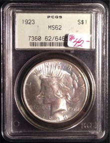 1923-P PEACE DOLLAR PCGS CERTIFIED MS 62