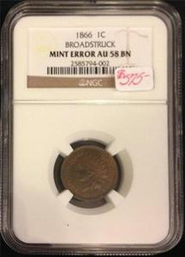 1866 1C BROADSTRUCK INDIAN HEAD PENNY MINT ERROR NGC CERTIFIED AU 58 BN