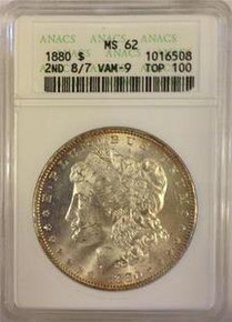 "1880-P VAM-9 ""Stem"" Overdate ANACS CERTIFIED MS 62 TOP 100"