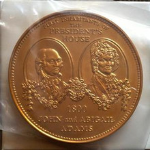 UNITED STATES WHITE HOUSE 3'' BRONZE MEDAL WITH JOHN AND ABIGAIL ADAMS