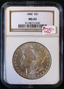 1886 MORGAN SILVER DOLLAR NGC CERTIFIED MS 65 NICE TONING