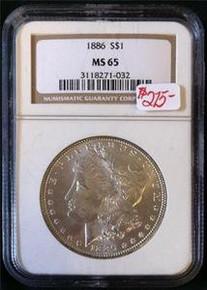 1886 MORGAN SILVER DOLLAR NGC CERTIFIED MS 65 NICE TONING