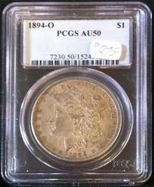 1894-O MORGAN SILVER DOLLAR PCGS CERTIFIED AU 50