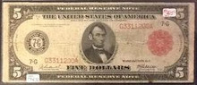 1914 $5 RED SEAL FEDERAL RESERVE NOTE VERY GOOD