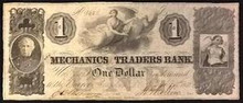 1852 THE MERCHANTS AND TRADERS BANK 1 DOLLAR ISSUED!!! PICTORIAL OF EAGLE AU