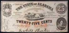 1863 THE STATE OF ALABAMA 25 CENTS PICTORIAL OF CARRIAGE  HAND SIGNED UNC