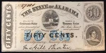1863 THE STATE OF ALABAMA 50 CENTS PICTORIAL OF TREE UNC
