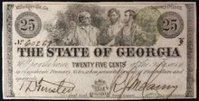 1863 THE STATE OF GEORGIA MILLEDGEVILLE 25 CENTS HAND SIGNED