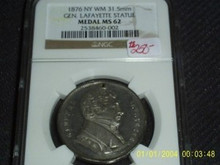 RARE 1876 New York 31.5mm GENERAL Lafayette DEFENDER of LIBERTY Medal NGC MS 62
