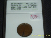 1950-D WHEAT Perfectly SPLIT DIE ANACS Major ERROR