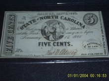 1863 State of North Carolina FIVE CENTS Ch Unc Signed