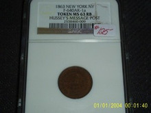 1863 NEW YORK NY F-640AK-1a Token MS 63RB Hussey's CWT