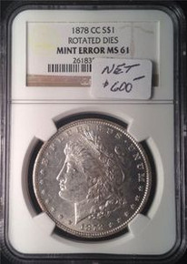 1878 CC MORGAN SILVER DOLLAR MINT ERROR ROTATED DIE NGC CERTIFIED MS 61