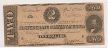 $2 Two Dollar Confederate States of America AU Type 61