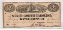 $2 Two The State of North Carolina 1863 Civil War Unc