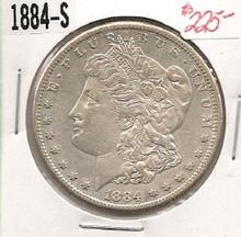 1884-S LIBERTY MORGAN SILVER DOLLAR AU ABOUT UNC